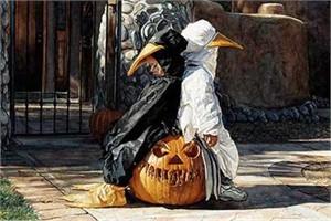 "Steve Hanks Handsigned Open Edition Print: ""Waiting on Halloween"""
