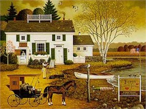 """Charles Wysocki Handsigned and Numbered Limited Edition Canvas: """"Birch Point Cove"""""""