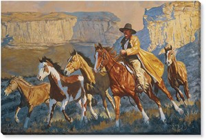 "Daryl Poulin Oversized Gallery Wrapped Canvas Giclee:""A Cowboy Day"""