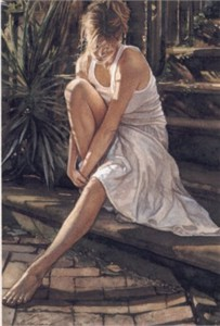 """Steve Hanks Handsigned & Numbered Limited Edition Canvas Giclee:""""Thinking  it Over"""""""