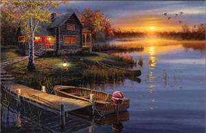 "Darrell Bush Handsigned & Numbered Limited Edition Print:"" Autumn at the Lake w/ companion print"""