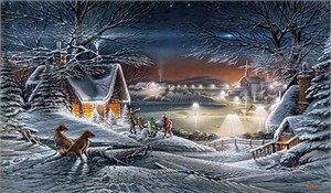 "Terry Redlin 2002 Christmas Print ""Evening Star"""