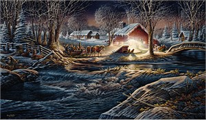 "Terry Redlin Handsigned Limited Edition Print:""Gathering of Friends"""