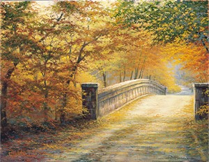 "Charles White Open Edition Canvas:""Autumn Bridge """