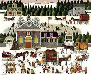 "Charles Wysocki Artist Handsigned and Numbered Legacy Limited Edition: ""Churchyard Christmas"""