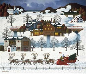 """Charles Wysocki Handsiged and Numbered Limited Edition Legacy  Edition:""""Santa's Coming to Town"""""""