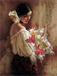 "Lee Bogle Handsigned & Numbered Limited Edition Enhnced Canvas Giclee:""In the Garden"""