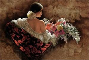 """Lee Bogle Handsigned & Numbered Limited Edition  Canvas Giclee:""""Flores de la Elegancia"""""""