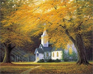 "Charles White Handsigned and Numbered Limited Edition Canvas:""The Church in the Glenn"""