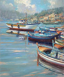 """John Michael Carter Handsigned & Numbered Limited Edition Embellished Canvas Giclee:""""Harbor Moorings"""""""