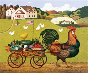 """Charles Wysocki Open Edition Print:""""Rooster Express"""""""