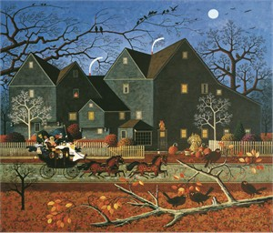 "Charles Wysocki Unsigned Open Edition Giclee on Canvas: ""Hellraisers Passing the House of Seven Gables on Halloween Night"""