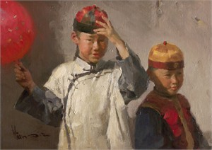 "Mian Situ  Artist Handsigned and Numbered Limited Edition Giclée Canvas: ""Dressed for the Festival"""