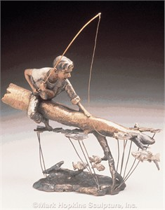 "Mark Hopkins Limited Edition Bronze Sculpture: ""Fishing Hole"""
