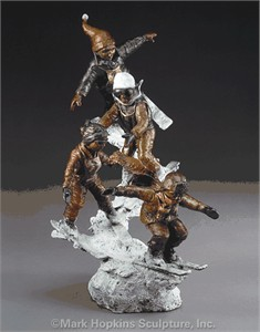"Mark Hopkins Limited Edition Bronze Sculpture: ""Ski School"""