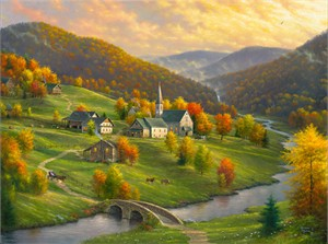"Abraham Hunter Hand Signed and Numbered Limited Edition Embellished Canvas Giclee:""Peace in the Valley"""