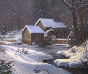 "Mark Keathley Hand Signed and Numbered Limited Edition Embellished Canvas Giclee:""Closed For the Holidays"""