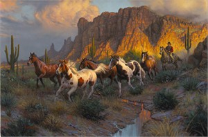 "Mark Keathley Hand Signed and Numbered Limited Edition Embellished Canvas Giclee:""Legends of the West"""