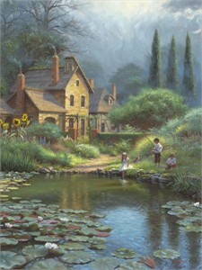 """Mark Keathley Hand Signed and Numbered Limited Edition Embellished Canvas Giclee:""""Peaceful Times"""""""