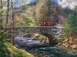 "Abraham Hunter Hand Signed and Numbered Limited Edition Embellished Canvas Giclee:""Fishing Trip"""