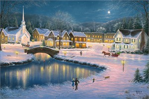 """Abraham Hunter Hand Signed and Numbered Limited Edition Embellished Canvas Giclee:""""A Christmas Carol"""""""