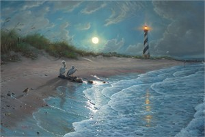 "Mark Keathley Hand Signed and Numbered Limited Edition Embellished Canvas Giclee:""Moonlit Cove"""