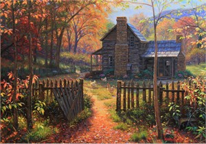 "Mark Keathley Hand Signed and Numbered Limited Edition Embellished Canvas Giclee:""Welcome Fall"""