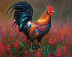 "Mark Keathley Hand Signed and Numbered Limited Edition Embellished Canvas Giclee:""The Rooster"""
