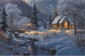 "Mark Keathley Hand Signed and Numbered Limited Edition Embellished Canvas Giclee:""Midnight Clear"""