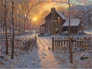 "Mark Keathley Hand Signed and Numbered Limited Edition Embellished Canvas Giclee:""Welcome Winter"""