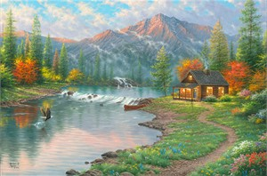"""Abraham Hunter Hand Signed and Numbered Limited Edition Embellished Canvas Giclee:""""Gone Fishin'"""""""