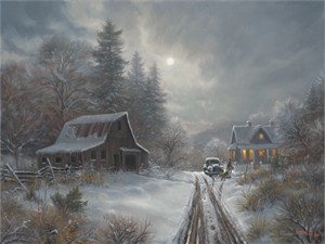 "Mark Keathley Hand Signed and Numbered Limited Edition Embellished Canvas Giclee:""Winter Homeplace"""