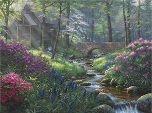 "Mark Keathley Hand Signed and Numbered Limited Edition Embellished Canvas Giclee:""Spring's Renewal"""