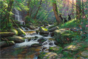 """Mark Keathley Hand Signed and Numbered Limited Edition Embellished Canvas Giclee:""""Seasons of Life III  ~ Summer Delights"""""""