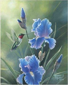 "Abraham Hunter Hand Signed and Numbered Limited Edition Embellished Canvas Giclee:""Grandmas Garden"""