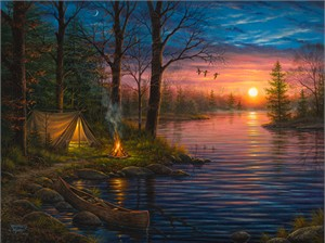 "Abraham Hunter Hand Signed and Numbered Limited Edition Embellished Canvas Giclee:""Evening Mist"""