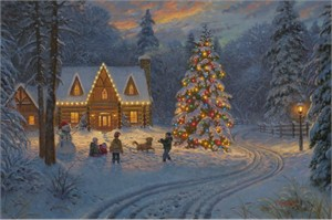 """Mark Keathley Artist Signed Limited Edition Embellished Canvas Giclee Release:""""Smoky Mountain Christmas"""""""