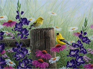 "Abraham Hunter Limited Edition Embellished Canvas Giclee:""Goldfinch Meadow"""