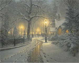 """Mark Keathley Limited Edition Hand-Embellished Canvas Giclee:""""Winter Chapel """""""