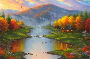"Abraham Hunter Hand Signed and Numbered Limited Edition Embellished Canvas Giclee:""Evening Retreat"""