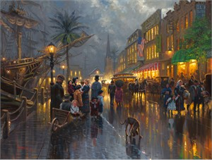 "Mark Keathley Hand Signed and Numbered Limited Edition Embellished Canvas Giclee:""Evening on the Strand"""