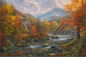 "Abraham Hunter Hand Signed and Numbered Limited Edition Embellished Canvas Giclee:""Paradise Valley """