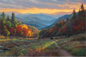 """Mark Keathley Hand Signed and Numbered Limited Edition Embellished Canvas Giclee:""""Evening Light"""""""