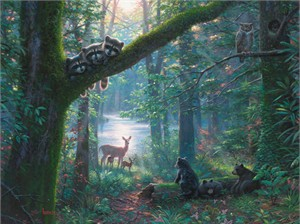 "Mark Keathley Hand Signed and Numbered Limited Edition Embellished Canvas Giclee:""Moonlit Encounters"""