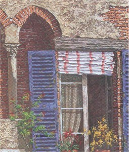 "Viktor Shvaiko Limited Edition Hand Embellished Serigraph on Canvas: ""Windows of Italy"""