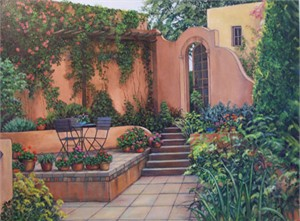 "Laurie Brussel Limited Edition Gicle�e on Canvas Hand Embellished by the Artis: ""Adobe Patio Small on Canvas"""