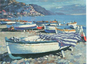 "Howard Behrens Limited Edition Serigraph on Paper: ""Amalfi Boats"""