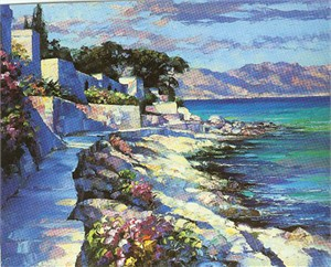 "Howard Behrens Limited Edition Serigraph on Paper: ""Cap Ferrat"""
