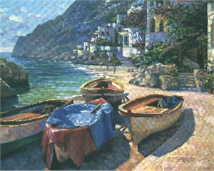 """Howard Behrens Limited Edition Serigraph on Paper: """"Capri Boats"""""""