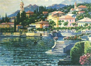 "Howard Behrens Limited Edition Serigraph on Paper: ""Recollections of Lake Como"""